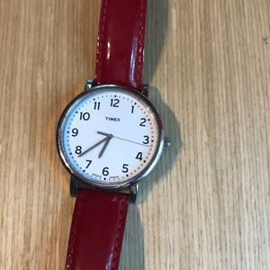 Timex. Red Patent Leather strap. Stainless steel.